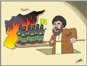 Cartoon from a Syrian opposition website: Hezbollah leader Hassan Nasrallah sends his operatives to the Syrian oven (Akhbar al-Balad website, Syria, May 27, 2013)
