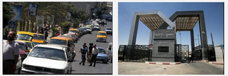 Left: A fuel shortage has caused long lines at gas stations (Filastin Al-'Aan, July 3, 2013). Right: The Rafah crossing, closed to traffic in both directions (Filastin Al-'Aan, July 6, 2013).