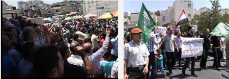 Left: Demonstration in support of Mohamed Morsi held in Al-Bireh (Filastin Al-'Aan, August 16, 2013). Right: Hamas demonstration in support of Mohamed Morsi held in Hebron (Palinfo website, August 16, 2013).