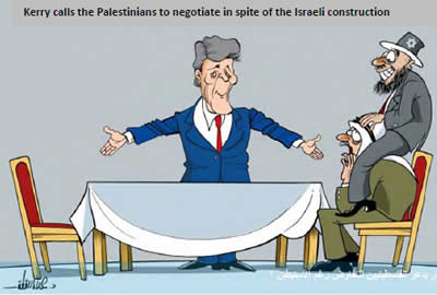 The Hamas newspaper Felesteen makes fun of American Secretary of State John Kerry's efforts to return the Palestinians to the negotiating table (Felesteen, August 13, 2013).
