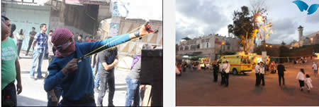 Left: The area where First Sergeant Kobi was shot (Yerah Rapp, Tazpit News Agency, September 22, 2013). Right: Palestinians confront IDF forces in Hebron (Wafa News Agency, September 27, 2013).