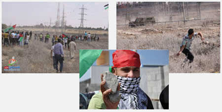 Young Gazans confront IDF forces at the security fence in the Nahal Oz region (Filastin Al-'Aan, September 27, 2013)
