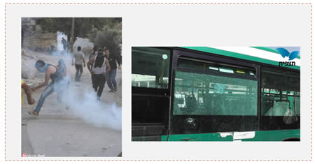 Left: Palestinians confront IDF forces in the village of Burin (south of Nablus) (Bukra.net website, October 5, 2013). Right: The Israeli bus attacked with stones near Herod's Gate in east Jerusalem (Tazpit News Agency, October 1, 2013).