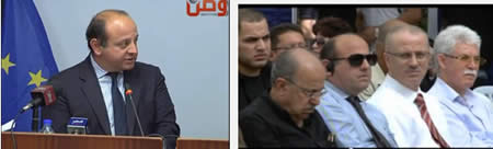 Left: John Gatt-Rutter, EU representative in the PA, at a press conference held jointly with Palestinian foreign minister Riyadh al-Maliki (Al-Watan TV, April 23, 2013). Right: John Gatt-Rutter, front row second from left, at the eighth Bil'in conference for popular resistance. To his right is Rami Hamdallah, Palestinian prime minister (Paltoday TV, October 3, 2013).