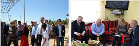 Left: The British consul-general, Sir Vincent Fean, and British minister Alistair Burt visit the village of Nabi Saleh. Right: Sir Vincent Fean and Alistair Burt meet with Naji al-Tamimi, the Nabi Saleh coordinator for the Popular Committees Against the Fence and Settlements (Facebook page of the British Consulate in Jerusalem, June 13, 2013)