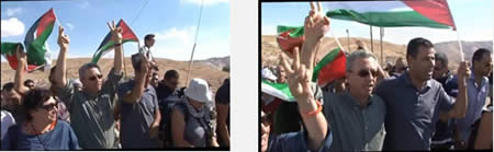 "Marwan Barghouti, Luisa Morgantini (far left) and Abdallah Abu Rahma march after Abu Rahma's release. He had been delayed for a number of hours at the Wadi Nar roadblock (east of Bethlehem) by the Israel Border Police. Ms. Morgantini (hand at left in right picture) signals a ""V"" (Website of the Palestinian National Initiative movement, October 3, 2013)"