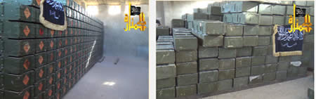 Crates of weapons and ammunition draped with the Al-Nusra Front flag (Jalnosra.com website)