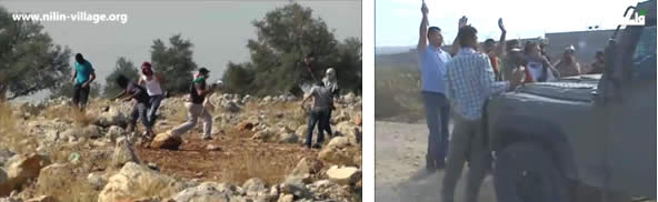 Left: Abdallah Abu Rahma (left), coordinator for the Bil'in resistance committees to protest the fence, and with local and foreign activists confront IDF forces during one of the weekly demonstrations protesting the security fence in Bil'in (Bil'in Facebook page, November 22, 2013). Right: Palestinians throw stones at IDF forces in Ni'lin (YouTube, November 22, 2013).