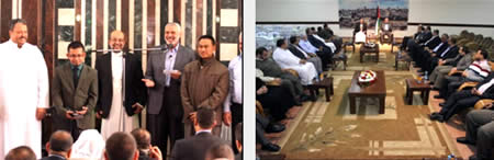 The Miles of Smiles delegation meets with Ismail Haniya (Filastin Al-'Aan, November 22, 2013).
