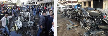 Pictures from the site of the attack (Left: Al-Arabiya TV. Right: Al-Alam TV, Iran)
