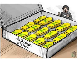 Coffins in the shape of candy, sent to Nasrallah from the town of An-Nabk, in the Al-Qalamoun mountains, where Hezbollah suffered losses (Syria Change website, December 5, 2013)