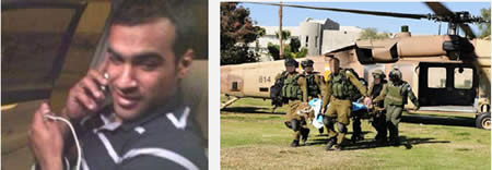 Left: Salah Abu Latif, killed by Palestinian sniper fire. Right: Salah Abu Latif evacuated to a hospital in Israel (IDF Spokesman, December 23, 2013).