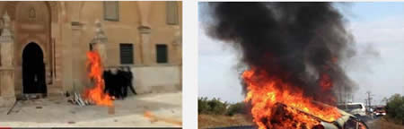 Left: Palestinians throw Molotov cocktails at Israeli security forces on the Temple Mount (YouTube, March 8, 2013). Right: Israeli civilian vehicle destroyed by fire caused by Molotov cocktail (Tazpit News Agency, November 8, 2013) .