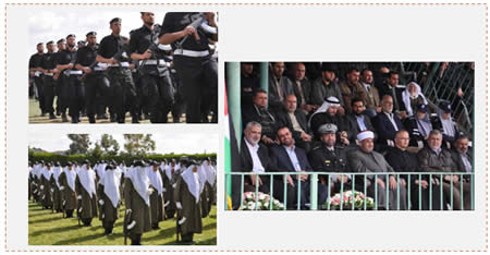 Left: Male and female graduates. Right: Ismail Haniya and Fathi Hamad attend the graduation exercises (Paltoday.ps, April 3, 2014).