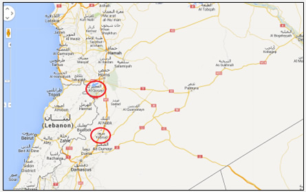 Yabrud and Al-Qusayr, two important cities lying near the Damascus-Homs road; Hezbollah participated in their takeover. In the campaign for Al-Qusayr Hezbollah played a leading role, while in the campaign for Yabrud Hezbollah operated as an auxiliary for to the Syrian army (Map: Google Maps)