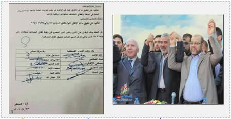 Left: The signatures of senior Hamas figures and the PLO-Fatah delegation (Fatah's official Facebook page, April 23, 2014). Right: Senior Fatah and Hamas figures after they signed the agreement. Left to right: Azzam al-Ahmad (Fatah), Ismail Haniya, head of the de-facto Hamas administration in the Gaza Strip, and Musa Abu Marzouq, deputy chairman of the Hamas political bureau (Filastin Al-'Aan, April 23, 2014).