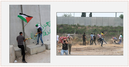 Left: Palestinians use axes to vandalize the security fence. Right: Rioting Palestinians confront IDF forces at the security fence near Tulkarm (Wafa.ps, May 31, 2014).
