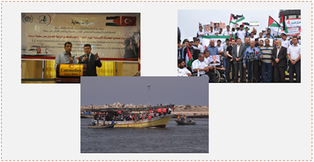 Events commemorating the fourth anniversary of the Mavi Marmara. Left: The Turkish consul in Jerusalem gives a speech at the Commodore Hotel in Gaza. Right: The rally in Gaza. Bottom: Boats sail along the shore of the Gaza Strip (Paltoday.ps, May 29 and 31, 2014)