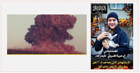 Left: The explosion caused by the suicide bombing. Right: Abu Hurayra, the American suicide bomber (Twitter).