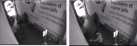 Security camera photos. Left: The terrorist fires a rifle. Right: He exists the building (Facebook page of the Brussels police department).