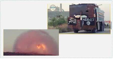 Left: The explosion caused when the truck detonated. Right: The truck driven by the American suicide bomber (Twitter).