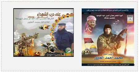 Left: The Hamas police force death notice for Muhammad Ahmed al-'Awar (Facebook page of the Gaza Strip ministry of the interior, June 12, 2014). Right: The death notice issued by the Popular Resistance Committees military-terrorist wing (Salah al-Din Brigades website, June 11, 2014)