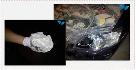 Left: The rock thrown at the Israeli vehicle. Right: The damaged motor (Photo by Ehud Amitoun for Tazpit.org.il, June 15, 2014).
