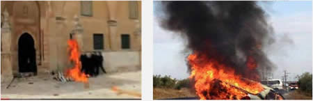 Left: Palestinians throw Molotov cocktails at Israeli security forces on the Temple Mount (YouTube, March 8, 2013). Right: An Israeli civilian vehicle goes up in flames after being hit by a Molotov cocktail (Tazpit.org.il, November 8, 2013).
