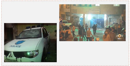 Left: A vandalized PA police car (Paltimes.net, June 22, 2014). Right: Palestinians attack the PA police station in Ramallah to protest the security coordination with Israel (Raya.ps, June 22, 2014).
