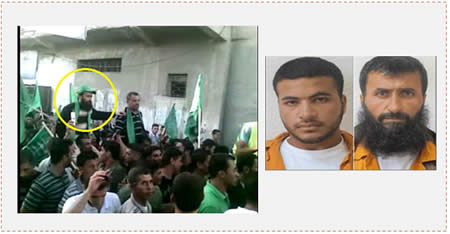 Left: Video of the reception held for Ziad Hassan Awad (yellow circle) upon his release (YouTube, October 20, 2014). Right: Ziad Hassan Awad and his son, Izz al-Din Ziad Hassan Awad (Maannews.net, June 23, 2014).