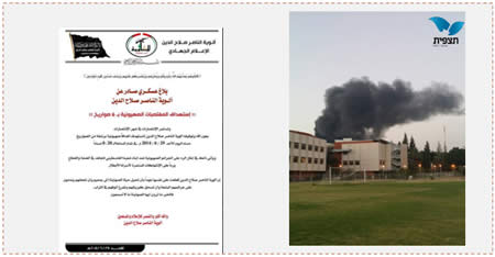 Left: The military-terrorist wing of the PRC claims responsibility for the rocket fire into Israel. According to the announcement, it was a response to Israel's activities against the Palestinians in the Gaza Strip, Judea and Samaria, and against the Palestinian prisoners in Israeli jails (Facebook page of Gaza al-'Aan, June 29, 2014). Right: Smoke from the fire at the paint factory in Sderot caused by a rocket hit (Photo by Noga Benodiz for Tazpit.org.il, June 29, 2014).