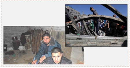 Left: Muhammad al-Fasih and Osama al-Hasoumi, both killed, shown at a site for the manufacture of rockets in the Gaza Strip (Majd news agency, June 28, 2014). Right: The vehicle of the two terrorist operatives after the IDF strike (Wafa.ps, June 27, 2014).