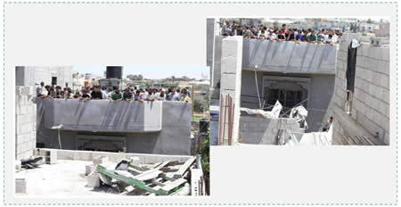 Palestinian civilians gather on the roof of the Karawe house in Khan Yunis (Watan TV, July 9, 2014).