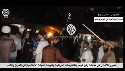 Support rally for ISIS by residents of Palestinian Rafah, which was dispersed by the Hamas police (youtube.com).