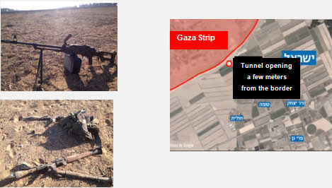 Left: Some of the weapons found at the site of the infiltration (IDF Spokesman, July 17, 2014). Right: The region of the attempted attack.
