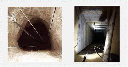 Tunnels exposed by the IDF in the Gaza Strip (IDF Spokesman, July 19, 2014).