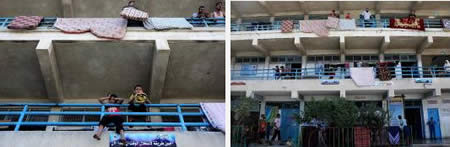 Palestinians in UNRWA schools in the northern Gaza Strip after having vacated their houses (Wafa.ps, July 18, 2014).
