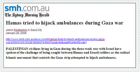 Statement of the ambulance driver from The Sydney Morning Herald, January 26, 2009.