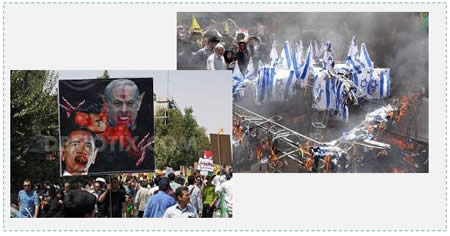 Left: Israeli Prime Minister Benyamin Netanyahu and American President Barack Obama as vampires (Demotix.com, July 25, 2014). Right: Burning the Israeli flag on Jerusalem Day in Iran (Novinte.com, July 25, 2014).