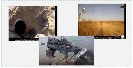 Scenes from the video. Left: The tunnel used by the terrorists. Right: The terrorist squad approaches the IDF post. Bottom: The Tavor rifle (Al-Aqsa TV, July 29, 2014).