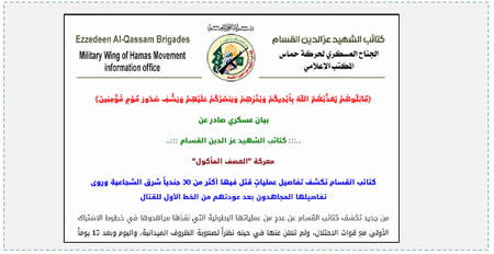 The announcement issued by Hamas' military-terrorist wing (Qassam.ps, August 2, 2014).