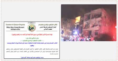 Left: The official Izz al-Din al-Qassam Brigades announcement of the deaths of the three operatives (Qassam.ps, August 21, 2014). Right: The building in Tel al-Sultan in Rafah where the three operatives were killed (Ghaza al-A'an, August 21, 2014).
