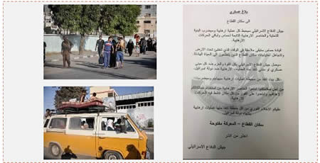 Left: Gazans leave their houses (Paltimes.net, August 21, 2014). Right: The flyer distributed by the IDF (IDF Spokesman, August 23, 2014)