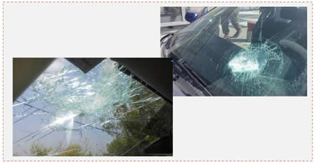 Left: Vehicle damaged near Deir Abu Meshal (Tazpit News Agency, August 31, 2014. Photo: Ehud Amiton). Right: Vehicle damaged in the Halhoul junction (Tazpit News Agency, August 31, 2014).