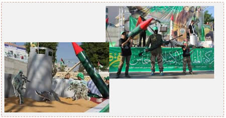 Left: Installation simulating an attempted abduction of IDF soldiers at an Israeli post (Facebook page of the Islamic Bloc at Birzeit University, August 30, 2014). Right: Hamas operatives holding models of weapons used during Operation Protective Edge.