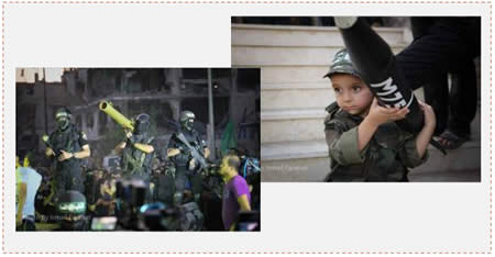 Left: Members of the Hamas military wing during victory celebrations in Gaza. Right: A child in uniform holding a model of an M75 rocket (Gaza Alan, August 26 and 27, 2014)