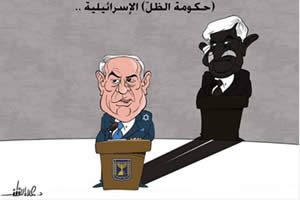 "Mahmoud Abbas as being handled by Israel: a caricature mocking Mahmoud Abbas' statement regarding the ""shadow government"", under the title: ""The Israeli Shadow Government"" (PALDF, September 9th, 2014)"