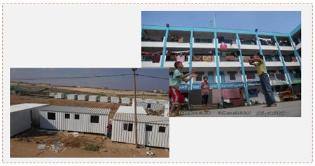 On the right: residents of the Gaza Strip still residing in UNRWA schools (PALINFO, September 10, 2014). On the left: Placing caravans in Ikhza'a (PALINFO, September 13, 2014).