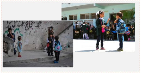 On the right: pupils in the Gaza Strip on their way to school (Palestine al-Youm, September 14, 2014). On the left: Pupils at school (Wafa, September 14, 2014).