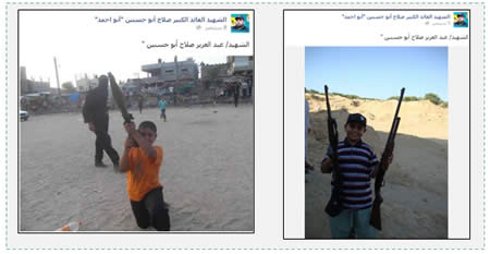 "Abd al-Aziz Abu Hassanein, 15, son of senior PIJ commander Salah Abu Hassanein. He is photographed holding an RPG launcher (left) and two rifles (right), apparently at a PIJ summer camp in Rafah (Facebook page dedicated to ""the shaheed commander, Salah Abu Hassanein (Abu Ahmed),"" September 5 and 8, 2014)."